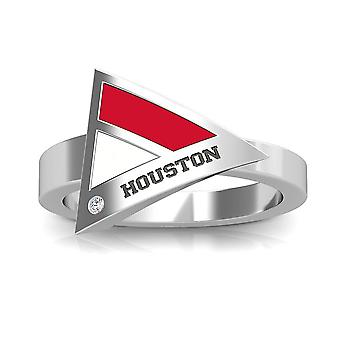 University Of Houston Engraved Sterling Silver Diamond Geometric Ring In Red and White
