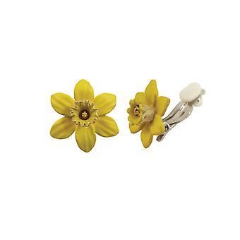 Wieczne żonkil kolekcji z trąbka żółte emaliowana Petite srebrnej tonacji Stud klipsy