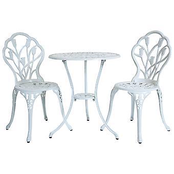 Charles Bentley 3 Piece tulpan gjuten aluminium uteplats Bistro set tabell & 2 stolar