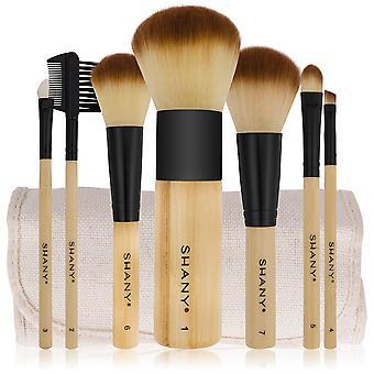 SHANY bamboe borstel set-Vegan borstels met Premium synthetische haar & katoen Pouch-7pc