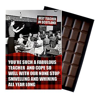 Leaving Gift for Teacher Scotland Scottish boxed Chocolate Greeting Card Present CDL153