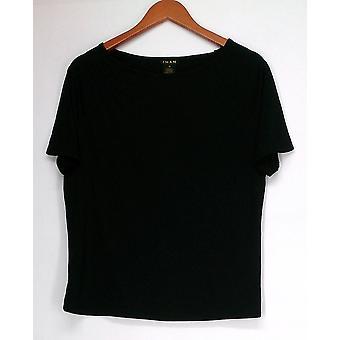 Iman Top Knit Slip Into Slim BasicTee Black Womens 460-386