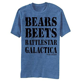 The Office Bears Beets Battlestar Galactica Men's Blue T-Shirt