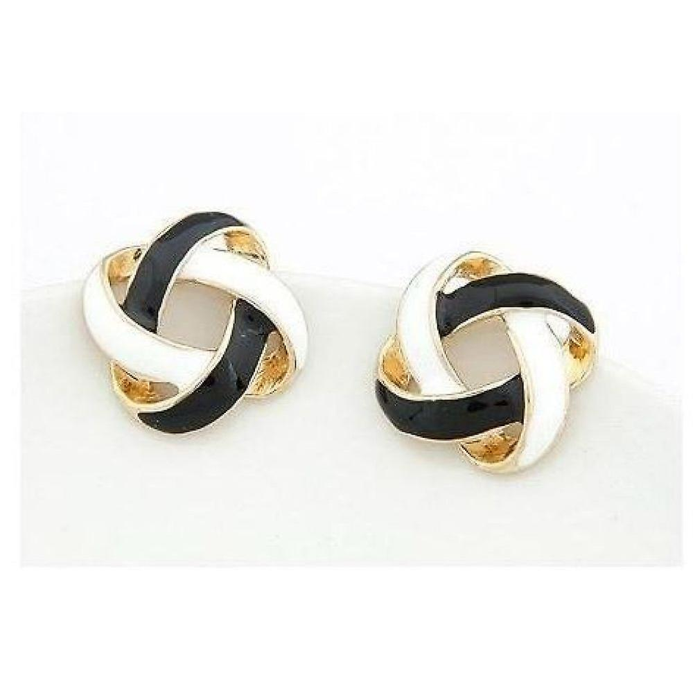 Earrings with Garland, 1 pair (Black/white)