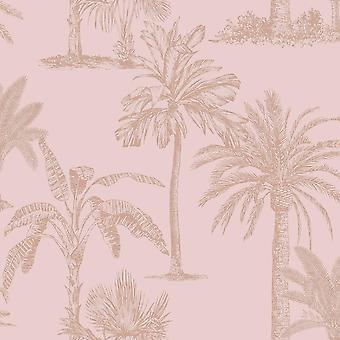 Palm Tree Wallpaper Teal Pink Blue Gold Metallic Tropical Shimmer Holden Decor