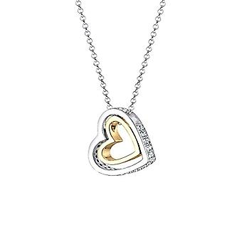 Elli Silver Women's Pendant Necklace - Gold Plated with White Crystal - 45 cm 0105252016_45