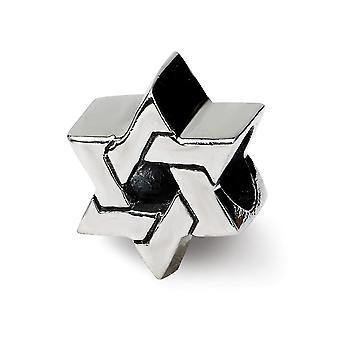 925 Plata esterlina pulido acabado Reflexiones religiosa judaica estrella de David Perla encanto colgante collar joya regalo de la joyería