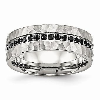 7.5mm Stainless Steel Brushed and Polished Black CZ Cubic Zirconia Simulated Diamond Hammered Ring Jewelry Gifts for Wom