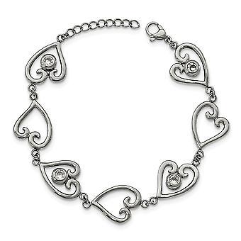 rustfritt stål polert CZ cubic zirconia simulert diamant kjærlighet hjerte med 1inch ext. armbånd 7 tommers smykker gaver