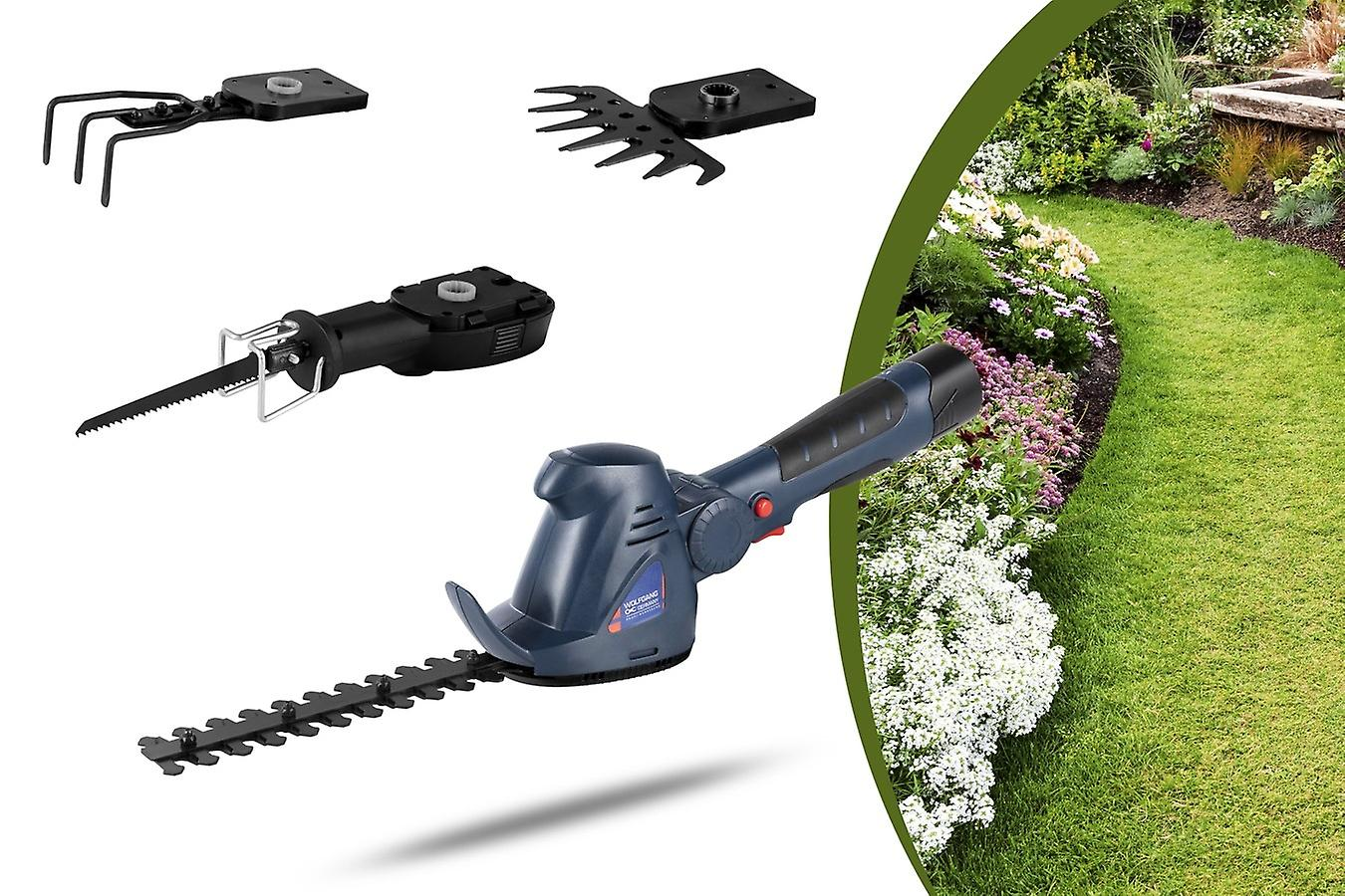 WOLFGANG 4 in 1 Multifunctional Garden Device, Jigsaw Grass Scissors Hedge Trimmer Cultivator, Wireless with Battery, Li-ion 1500mAh 10.8 V