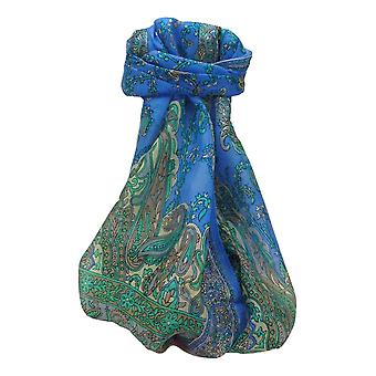 Mulberry Silk Traditionnelle Long Scarf Komal Blue par Pashmina et Soie