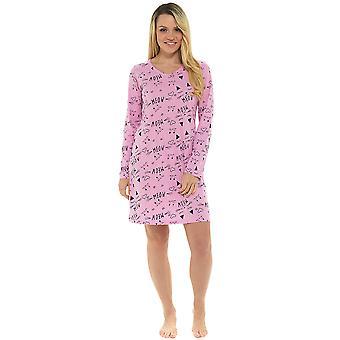 Dames 100% Cotton Pussy Cat Print Nightdress Nighty Sleepwear