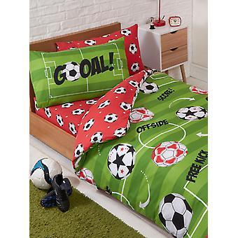 Voetbal rood 4 in 1 junior beddengoed bundel set (dekbed, kussen en
