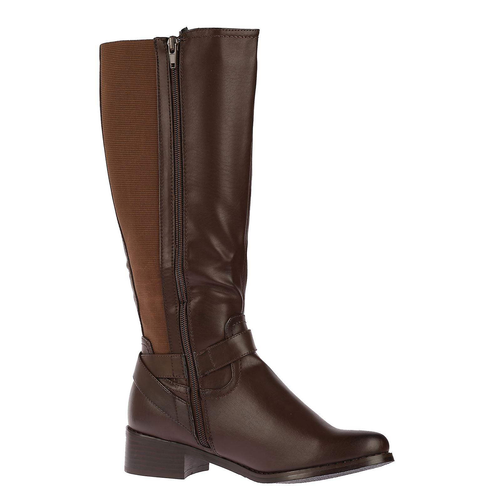 R1Y Womens Wide Calf  Elasticated Riding Under Knee Boots