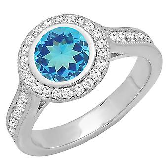 Dazzlingrock Collection 14K 6.5 MM Round Blue Topaz & White Diamond Bridal Halo Engagement Ring, White Gold