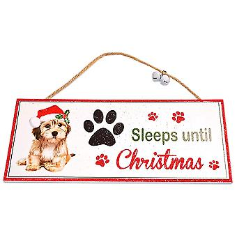 Santa Paws Oblong Plaque Dog - Sleeps until Christmas