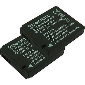 2 x Dot.Foto Panasonic DMW-BCJ13, DMW-BCJ13E vara-akku - 3.6V / 1250mAh - Panasonic Lumix DMC-LX5, DMC LX7