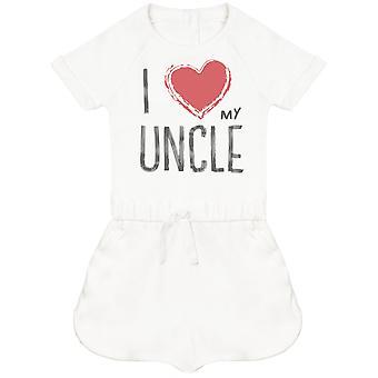Ich liebe meinen Onkel rotes Herz Baby Playsuit