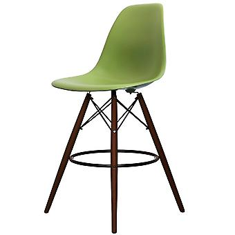 Charles Eames Style Green Plastic Bar Stool - Walnut Legs
