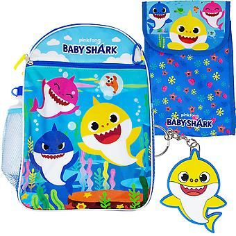 Baby Shark Backpack, Lunch Bag, Water Bottle 5-Piece Combo Set