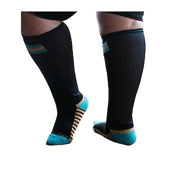 Xpandasox Sport-Unterstützung Socken oder Lymphödem Wrap Abdeckungen [Stil F15103] Schwarz Türkis L