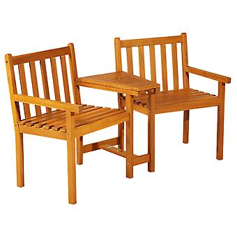 Outsunny Garden Wooden 2 Seater Companion Seat Love Seat Patio Partner Bench with Middle Table