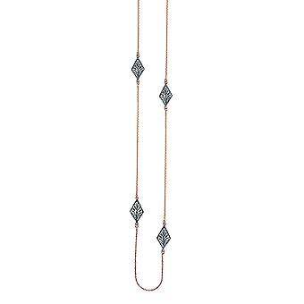 925 Sterling Silver Rose et Black Rhodium Plaqué Long And Lovely Filigree Station Necklace 36 Inch Bijoux Cadeaux pour Wo