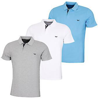 Wolsey Mens Pique Logo Rib Collar Golf Polo Shirt