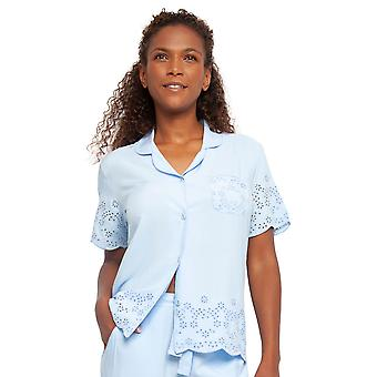 Cyberjammies 4400 Women's Olivia Blue Modal Embroidered Pyjama Top