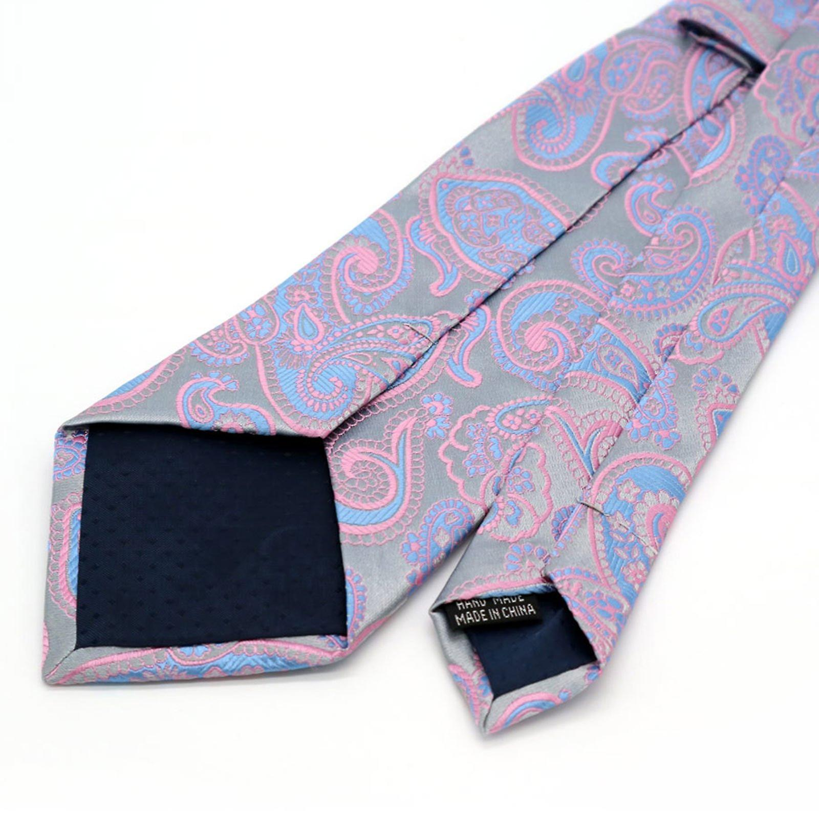 Blue & pink paisley detail necktie standard width tie