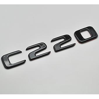 Kiiltävä Musta C220 Flat Mercedes Benz AutoMalli Takasaappaan numero Tarra Tarramerkki Tunnus C-luokan W202 W203 W204 W205 AMG