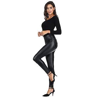 MCEDAR Frauen's Kunstleder Leggings mit Taschen Mädchen' schwarz, schwarz, Größe 4.0