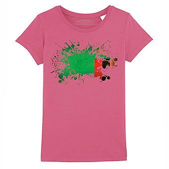 STUFF4 Girl's Round Neck T-Shirt/Zambia/Zambian Flag Splat/Dark Pink