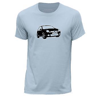 STUFF4 Men's Round Neck T-Shirt/Stencil Car Art / Lupo GTI/Sky Blue