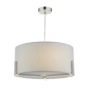 Santino Pendant Satin Chrome C/w Gris Faux Silk Shade