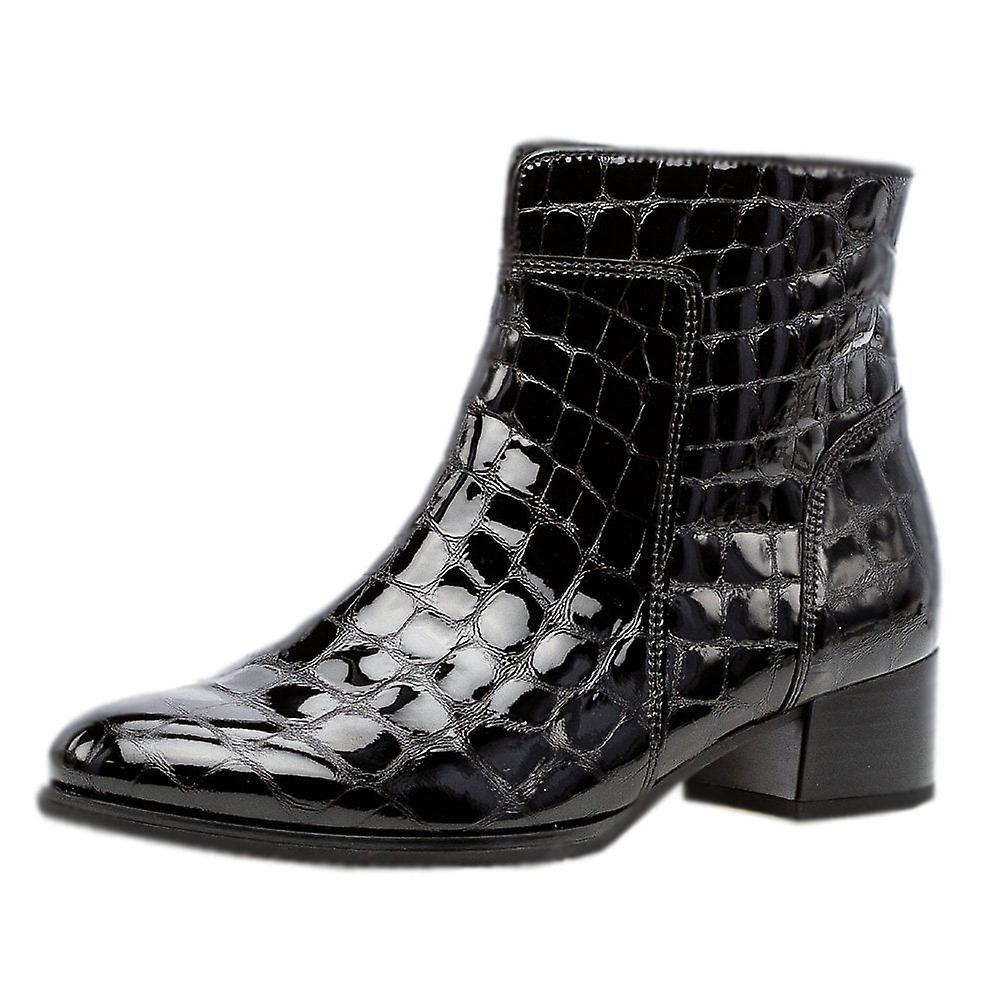 Gabor Delphino Fashion Ankle Boots In Black Croc Hwawa