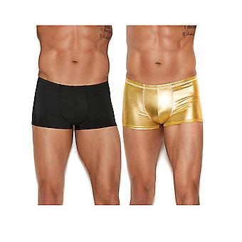 Mens Shiny Gold and Solid Black Boxer Brief Underwear Pack