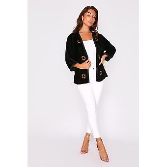 Roumaisa velour manga recortada manga longline bordado chaqueta en negro