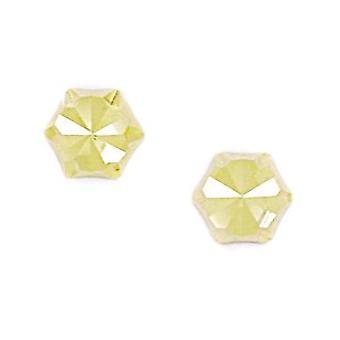 14k Yellow Gold Large Hexagonal Shape Screw back Earrings Measures 7x8mm Jewelry Gifts for Women