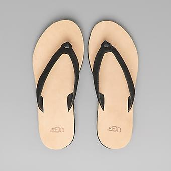UGG Tawney Ladies Leather Flip Flops Black