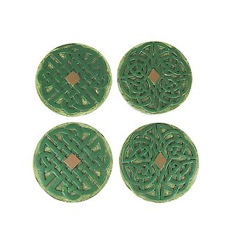 Set of 4 Celtic Knotwork Design Concrete Stepping Stones