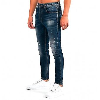 Kings Will Dream Dane Carrot Skinny Stretch Blue Denim Paint Jeans