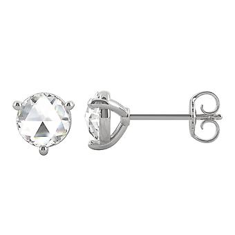 14K White Gold Moissanite by Charles & Colvard 5mm Round Rose Cut Stud Earrings, 0.52cttw DEW