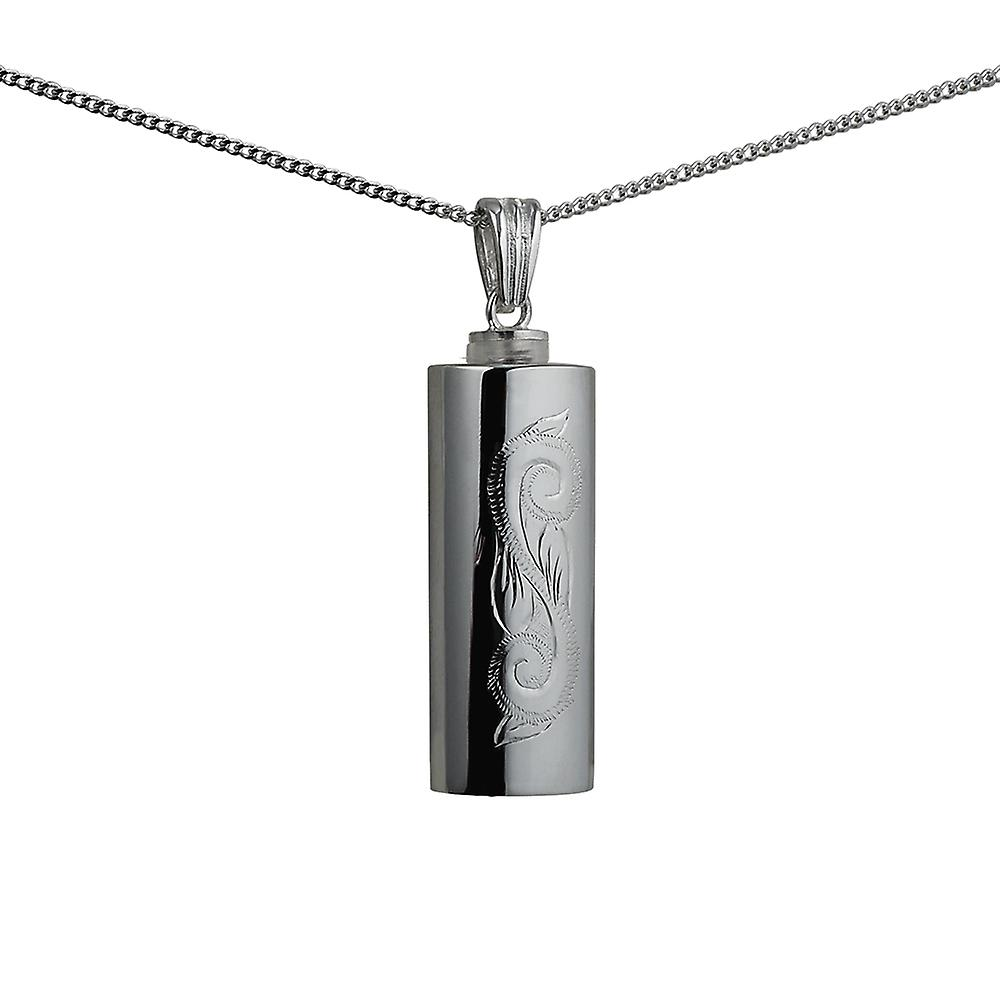 Silver 33x13x10mm handmade traditional scroll engraving oval Memorial Cylinder with a curb Chain 24 inches