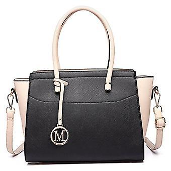 Miss Lulu Fashionable Women's Bag Hand bag large shoulder bag elegant messenger bag (black/beige)