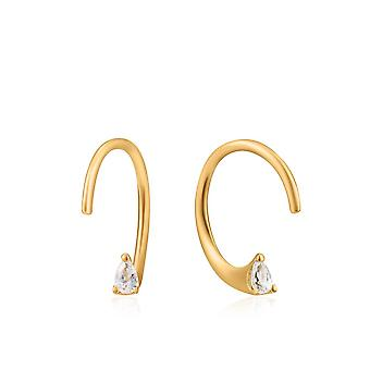 Ania Haie Ear We Go Shiny Gold Twist Sparkle Earrings E023-05G