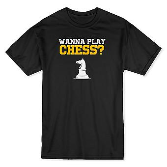 """Wanna Play Chess?"" Across Chest Quote Horse Graphic Men's T-shirt"