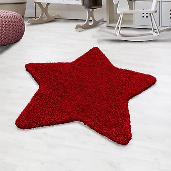 Shaggy hoge flor tapijt effen kleur rode ster vorm kinderdeken kinderkamer mat