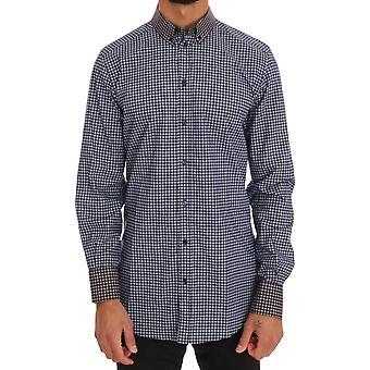 Azul gris patrón camisa de vestir de algodón de oro