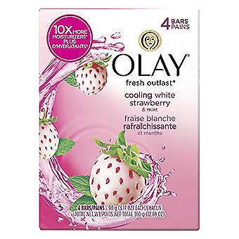 Olay fresh outlast bar, cooling white strawberry and mint, 3.17 oz x 4 ea